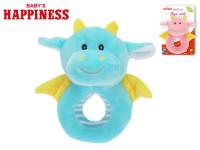 Chrastítko plyšové dráček 14 cm Baby\'s Happiness - mix barev