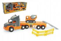 Auto nákladné Super Tech Truck náves 78cm + auto domiešavač 24cm plast Wader