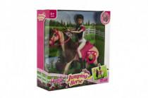 Kôň hýbajúce sa + bábika žokejka plast