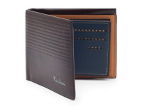 Luxusná tenká pánska peňaženka s kresbou dreva, eko koža, tmavo hnedá
